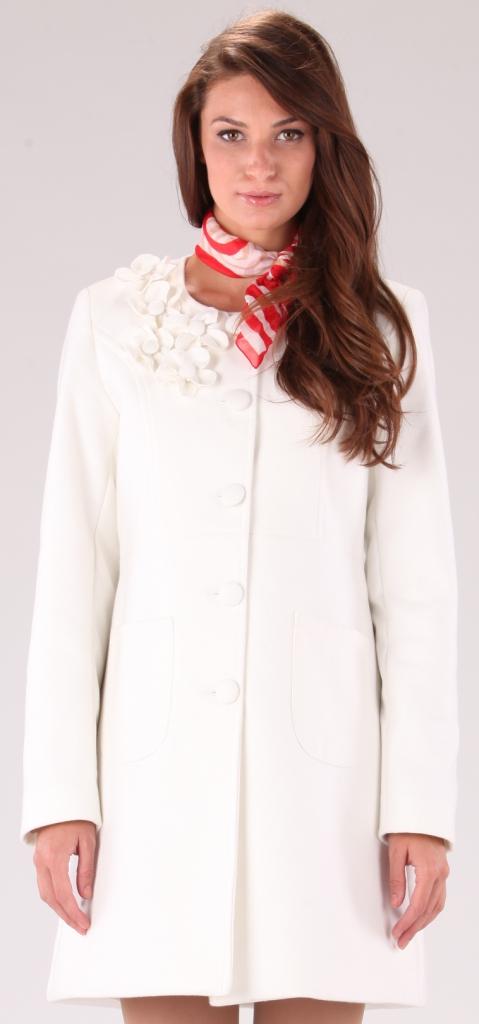 Palton alb cu model floral