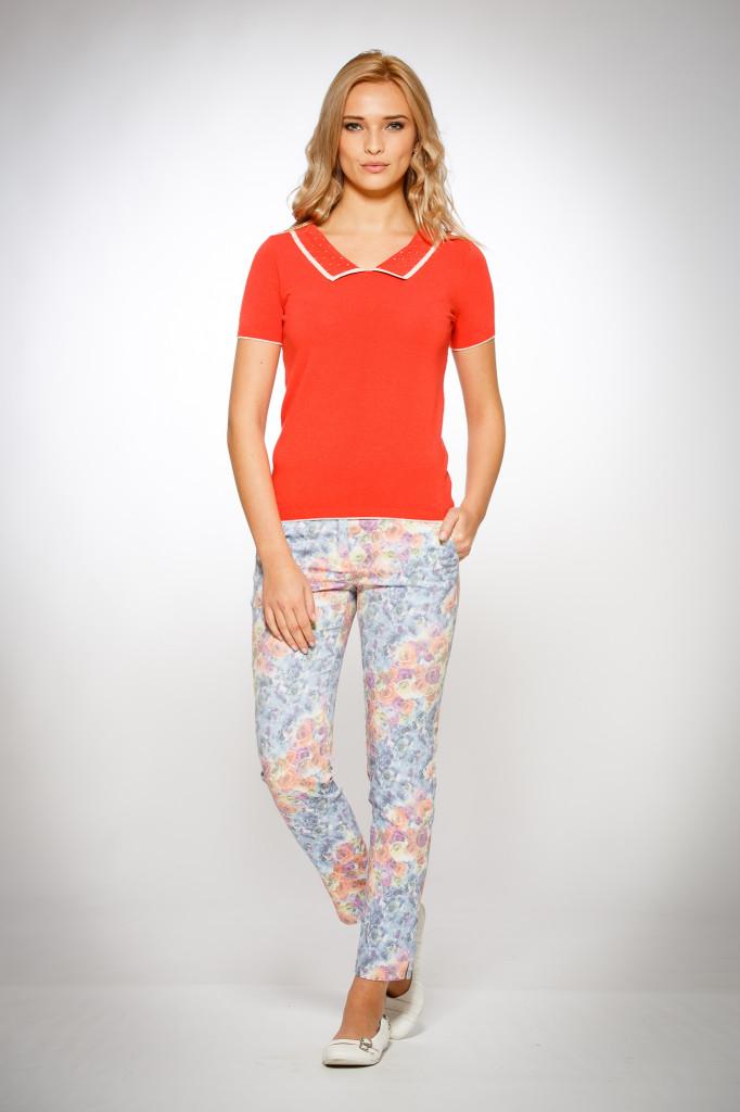 Pantaloni Dama Cu Print Flori Albastre