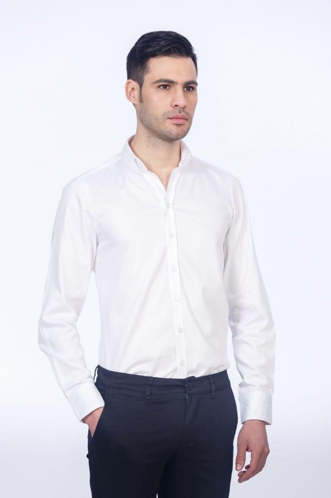 Cămașă Elegantă Albă  Cu Cotiere