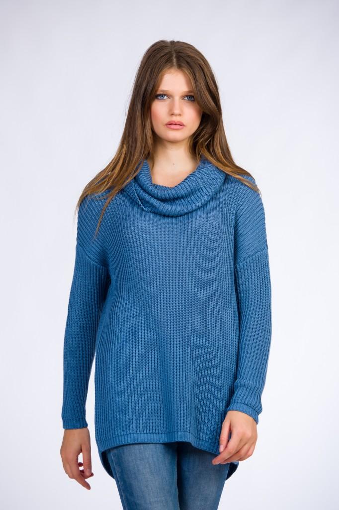 Pulover Tricotat Albastru Cu Guler șal Supradimensionat